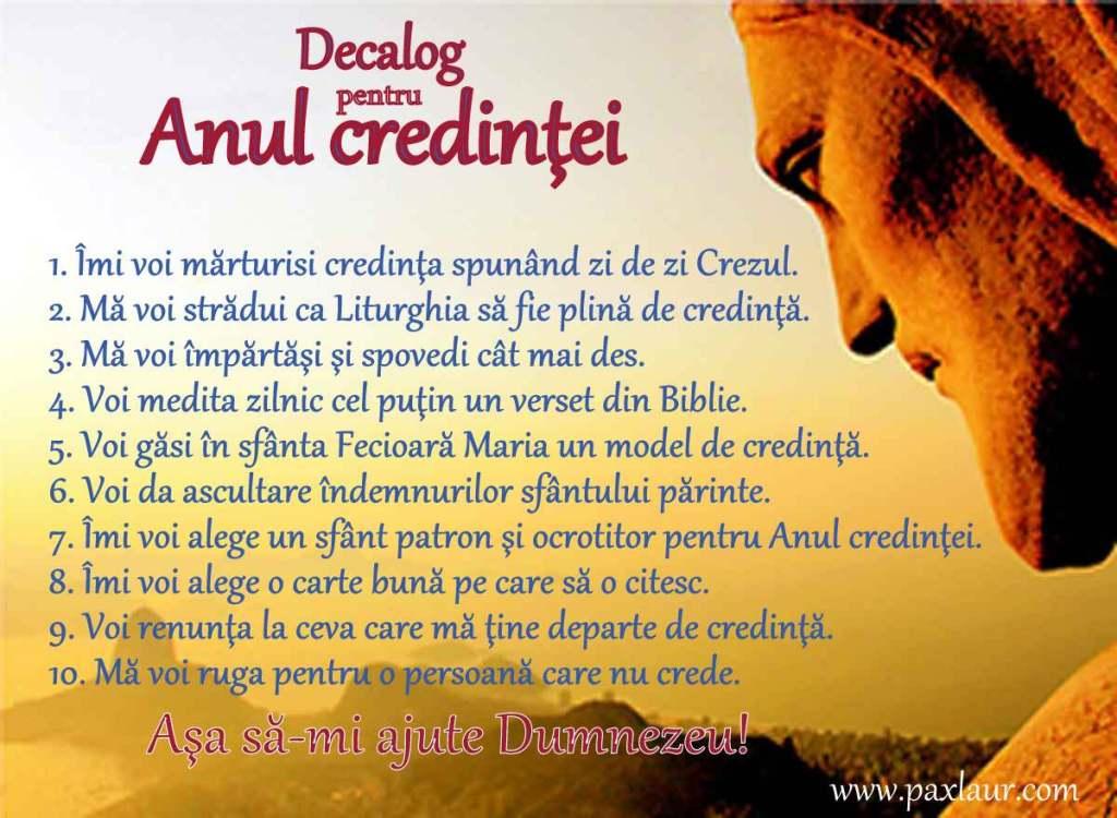 Decalog pt Anul credintei