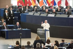 Pope Francis holding a speech at the European Parliament in Strasbourg
