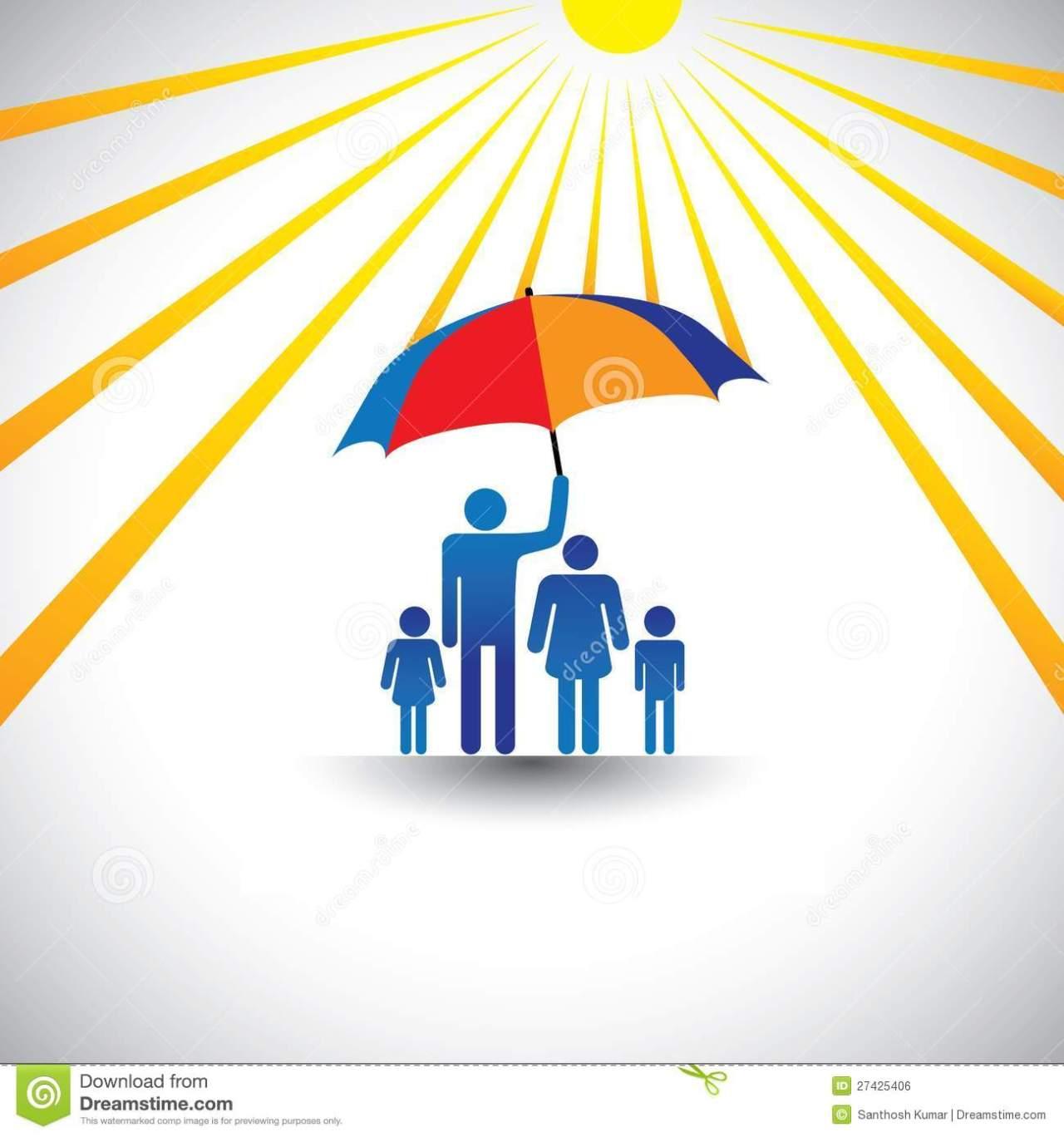 father-protects-family-hot-sun-umbrella-27425406