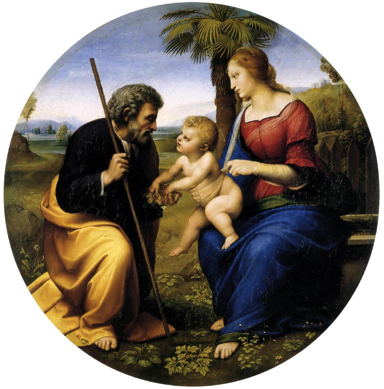 Raffaello holy-family-with-palm Sfanta Familie Isus Maria si Iosif
