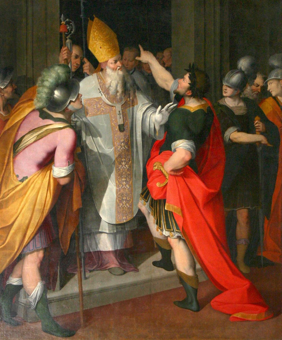 sfantul Ambroziu il opreste pe imparatul Teodosie la intrarea in Biserica