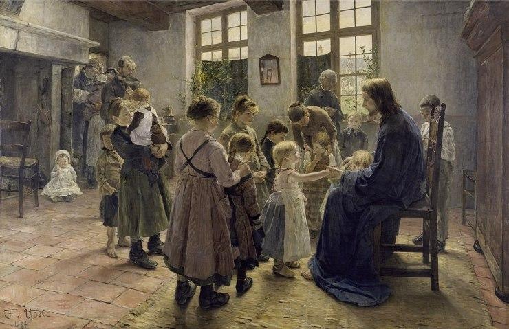 """""""Lăsaţi copiii să vină la mine"""", de Fritz Von Uhde"""
