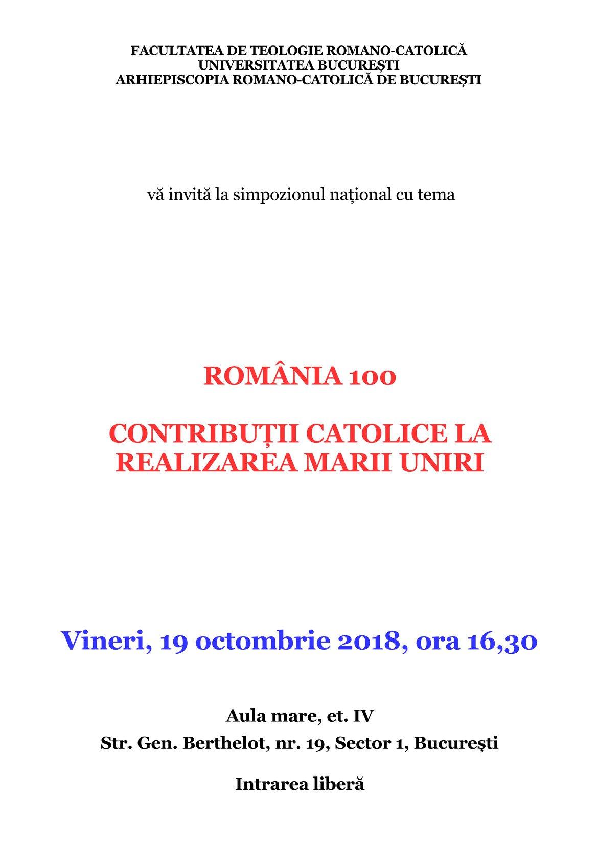Simpozion national Contribuții catolice la realizarea Marii Uniri