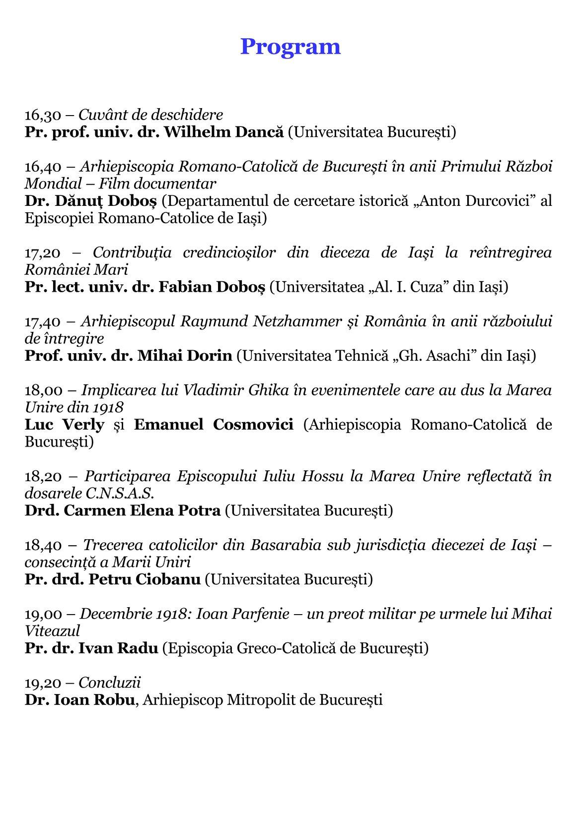 Un simpozion national pe tema Contribuții catolice la realizarea Marii Uniri